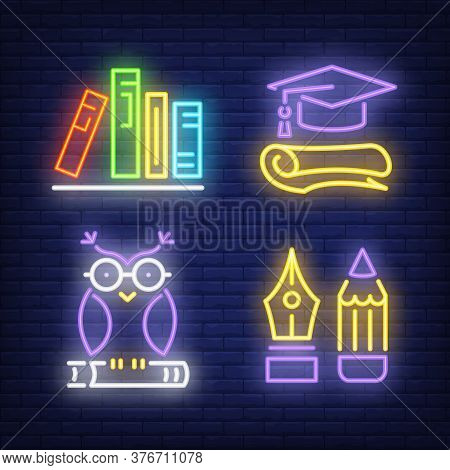 Books, Pencil, Owl, Graduate Cap Neon Signs Set. Education And Knowledge Design. Night Bright Neon S