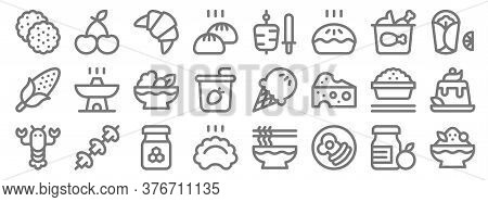 Gastronomy Line Icons. Linear Set. Quality Vector Line Set Such As Shaved Ice, Breakfast, Dumpling,