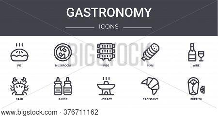 Gastronomy Concept Line Icons Set. Contains Icons Usable For Web, Logo, Ui Ux Such As Mushroom, Ham,