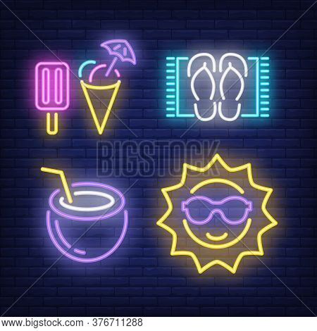 Ice-cream, Flip Flops, Cocktail And Sun Neon Signs Set. Tourism, Summer And Vacation Design Elements