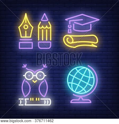 Earth Globe, Owl, Graduation Cap And Pencil Neon Signs Set. Education And Knowledge Design Elements.