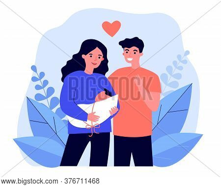 Happy New Parents Holding Baby. Young Mom And Dad, Heart Symbol, New Born Child Flat Vector Illustra