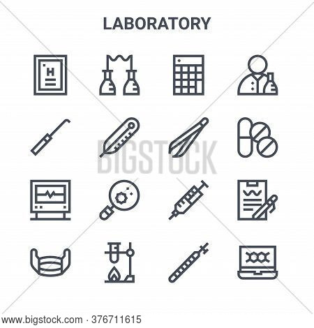 Set Of 16 Laboratory Concept Vector Line Icons. 64x64 Thin Stroke Icons Such As Chemical, Dissection