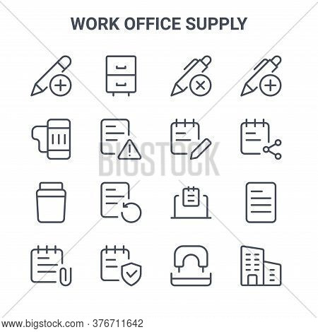 Set Of 16 Work Office Supply Concept Vector Line Icons. 64x64 Thin Stroke Icons Such As Cabinet Draw