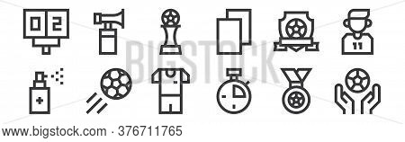 12 Set Of Linear Soccer Icons. Thin Outline Icons Such As Soccer Ball, Stopwatch, Soccer, Emblem, Fo