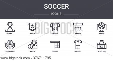 Soccer Concept Line Icons Set. Contains Icons Usable For Web, Logo, Ui Ux Such As Soccer, Soccer, Ba