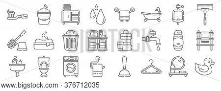 Bathroom Line Icons. Linear Set. Quality Vector Line Set Such As Rubber Duck, Hanger, Toilet Paper,