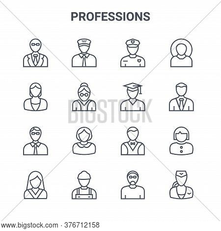 Set Of 16 Professions Concept Vector Line Icons. 64x64 Thin Stroke Icons Such As Taxi Driver, Babysi