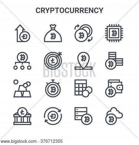 Set Of 16 Cryptocurrency Concept Vector Line Icons. 64x64 Thin Stroke Icons Such As Money Bag, Bitco