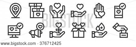 12 Set Of Linear Charity Icons. Thin Outline Icons Such As Donation, Donation, Megaphone, Charity, C