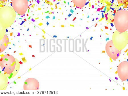 Orange Balloons, Bunting Flags, Confetti On Background, Autumn Concept Design, Halloween, Copy Space