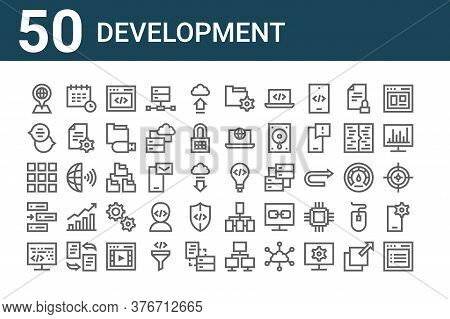 Set Of 50 Development Icons. Outline Thin Line Icons Such As Listing, Coding, Css, Globe Grid, Chat
