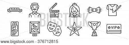 12 Set Of Linear Fame Icons. Thin Outline Icons Such As Vip, Hall Of Fame, Picture, Bow Tie, Clapper