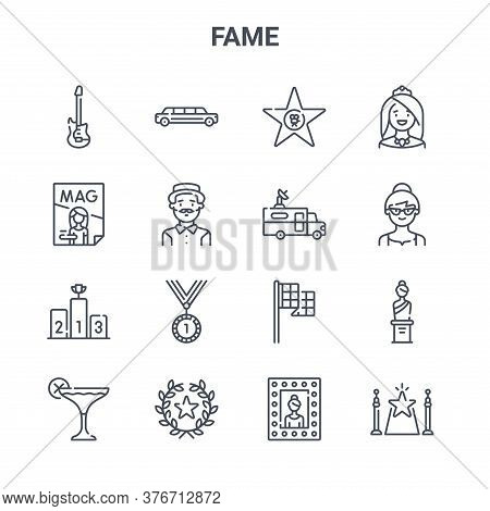 Set Of 16 Fame Concept Vector Line Icons. 64x64 Thin Stroke Icons Such As Limousine, Magazine, Woman