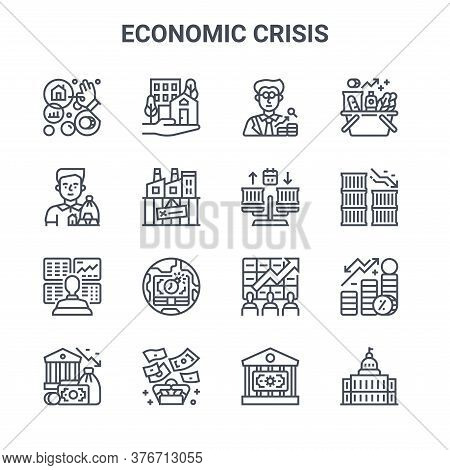 Set Of 16 Economic Crisis Concept Vector Line Icons. 64x64 Thin Stroke Icons Such As Real Estate, In