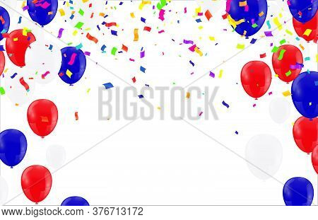 Bunch Of Colorful Helium Balloons Isolated On Background. Party Decorations For Birthday, Anniversar