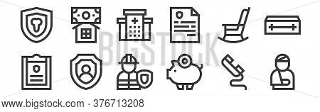 12 Set Of Linear Insurance Icons. Thin Outline Icons Such As Injury, Piggy Bank, Shield, Life Insura
