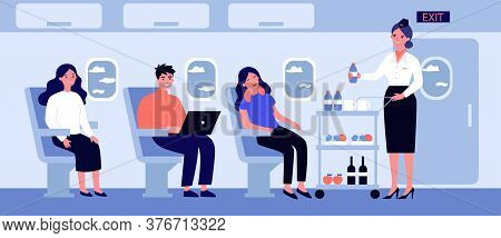 Passengers In Air Trip Waiting For Beverage Flat Illustration. Business Class Travelers Sitting Near