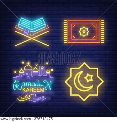 Islamic Neon Signs Set With Koran, Prayer Carpet And Mosque. Islam And Ramadan Design. Night Bright