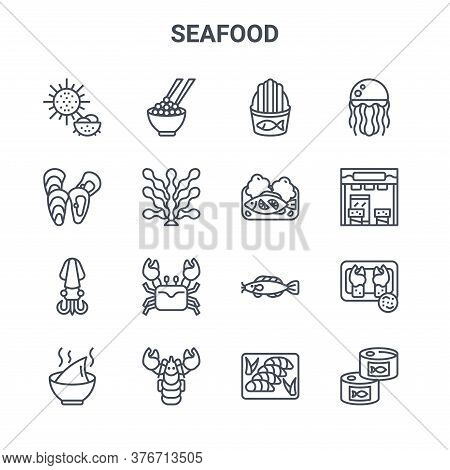 Set Of 16 Seafood Concept Vector Line Icons. 64x64 Thin Stroke Icons Such As Caviar, Mussel, Store,