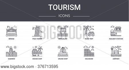 Tourism Concept Line Icons Set. Contains Icons Usable For Web, Logo, Ui Ux Such As Pisa Tower, Road