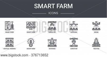 Smart Farm Concept Line Icons Set. Contains Icons Usable For Web, Logo, Ui Ux Such As Smart Farm, Wa