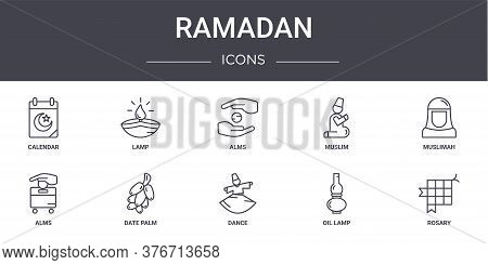 Ramadan Concept Line Icons Set. Contains Icons Usable For Web, Logo, Ui Ux Such As Lamp, Muslim, Alm
