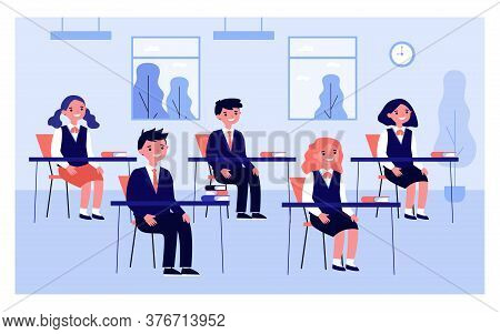 Pupils Studying In Classroom Isolated Flat Vector Illustration. Cartoon Children And Classmates Sitt