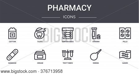 Pharmacy Concept Line Icons Set. Contains Icons Usable For Web, Logo, Ui Ux Such As Floss, Vitamin,