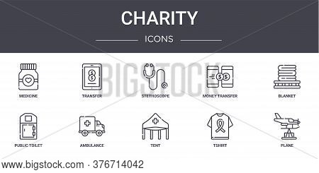 Charity Concept Line Icons Set. Contains Icons Usable For Web, Logo, Ui Ux Such As Transfer, Money T