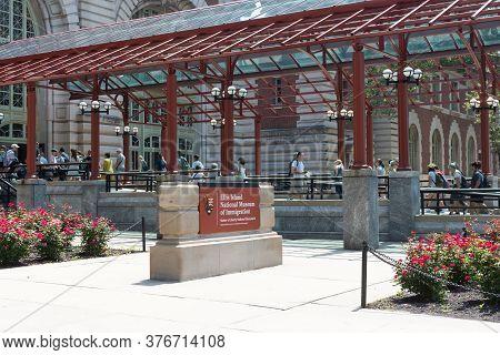 New York, Ny / Usa - July 19, 2019: Ellis Island Immigration Museum Sign Exterior