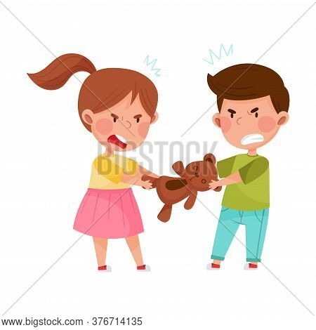 Hostile Kids With Angry Grimace Fighting Over Toy Bear Vector Illustration