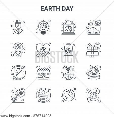 Set Of 16 Earth Day Concept Vector Line Icons. 64x64 Thin Stroke Icons Such As Ecologic Light Bulb,