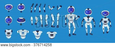 Robot Parts Set. Cute Whole Humanoid Character, Arms, Legs, Head With Screen, Torso Collection. Can
