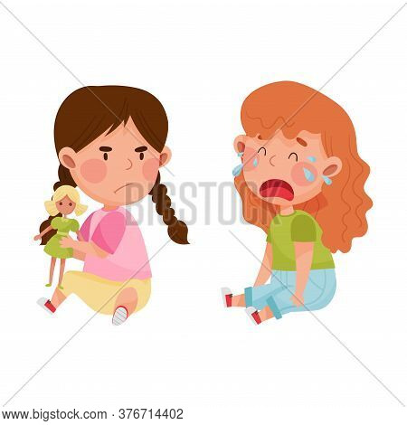 Hostile Kid With Angry Grimace Taking Away Doll From Her Crying Agemate Vector Illustration