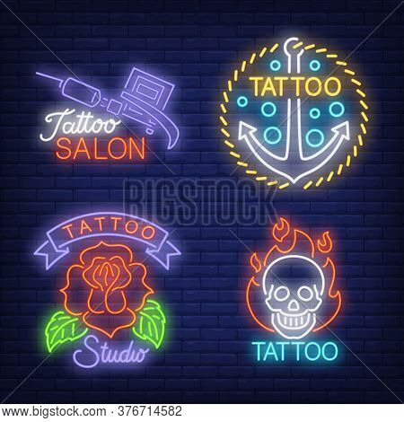 Tattoo Machine, Anchor, Rose And Skull Neon Signs Set With Text. Tattoo Salon Advertisement Design.