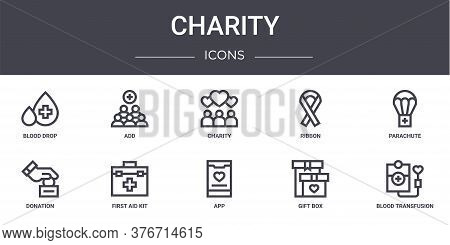 Charity Concept Line Icons Set. Contains Icons Usable For Web, Logo, Ui Ux Such As Add, Ribbon, Dona