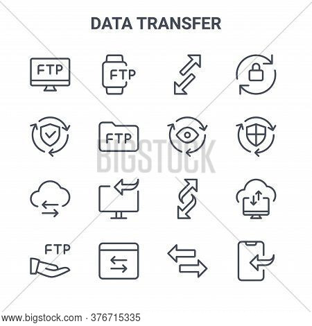 Set Of 16 Data Transfer Concept Vector Line Icons. 64x64 Thin Stroke Icons Such As Smartwatch, Secur