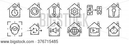 12 Set Of Linear Smarthome Icons. Thin Outline Icons Such As Protection, Smarthome, Ventilation, Mus
