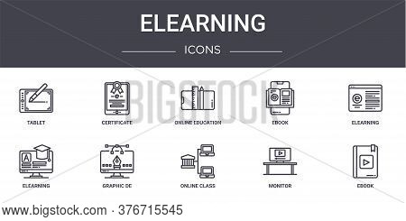 Elearning Concept Line Icons Set. Contains Icons Usable For Web, Logo, Ui Ux Such As Certificate, Eb