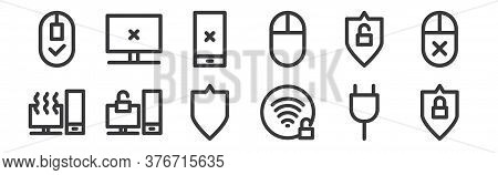 12 Set Of Linear Computer Hardware Icons. Thin Outline Icons Such As Locked, Unlocked, Unlocked, Unl