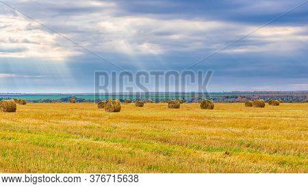 Picturesque Autumn Landscape With Beveled Field And Straw Bales In Cloudy Day. Beautiful Agriculture