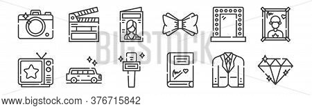12 Set Of Linear Fame Icons. Thin Outline Icons Such As Diamond, Autograph, Limousine, Mirror, Magaz
