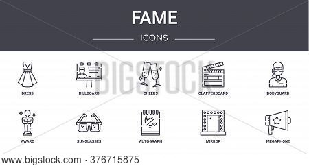 Fame Concept Line Icons Set. Contains Icons Usable For Web, Logo, Ui Ux Such As Billboard, Clapperbo