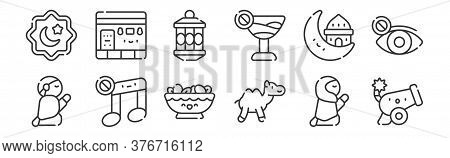 12 Set Of Linear Ramadan Icons. Thin Outline Icons Such As Cannon, Camel, No Music, Muslim, Lantern,