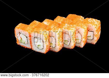 Black Isolated Portion Of American California Sushi Rolls With Tobiko Crab And Cucumber