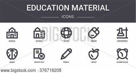 Education Material Concept Line Icons Set. Contains Icons Usable For Web, Logo, Ui Ux Such As School