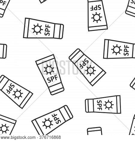 Sun Protection Icon In Flat Style. Sunblock Cream Vector Illustration On White Isolated Background.