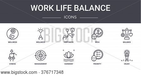 Work Life Balance Concept Line Icons Set. Contains Icons Usable For Web, Logo, Ui Ux Such As Wellnes