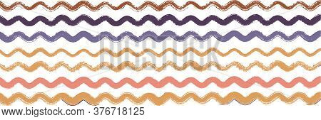 Cool Wavy Zigzag Stripes Vintage Pattern. Spring Summer Graffiti Stripes. Dirty Distress Trace. Wate